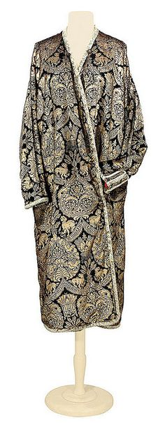 Fortuny Gold Stenciled Black Velvet Coat, 1920s.  Doyle New York.