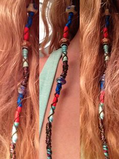 The hair wrap my step mother did! All you need is as many colors of your choice embroidery thread, and beads.... And a lot of patience! It took us 2 hours on the first try. @Brittany Horton Witt