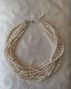 Chunky pearl and crystal multistrand statement necklace,Boho bridal jewelry, multilayer pearl wedding necklace,prom necklace,wedding choker Pearl Necklace Wedding, Pearl Jewelry, Wedding Jewelry, Beaded Jewelry, Jewelery, Vintage Jewelry, Handmade Jewelry, Indian Jewelry, Handmade Wire