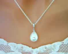 Pearl Drop Cubic Zirconia Necklace Sterling Silver Tear Drop $38.99