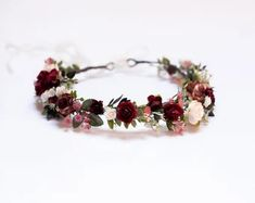 Wedding Flower Crowns and Bridal Headpieces by LisaUaShop on Etsy Pink And Burgundy Wedding, Burgundy Flowers, Blush Flowers, Bridal Flowers, Flowers In Hair, Flower Girl Crown, Flower Girl Headbands, Flower Crowns, Marsala