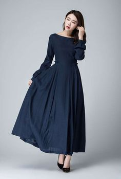 dark blue dress linen dress fall dress prom dress by xiaolizi