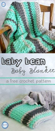 Crochet Baby Bean Baby Blanket - Free Pattern A free baby blanket crochet pattern and video tutorial perfect even for a beginner! Learn how to crochet the baby bean stitch and make this blanket in any size! This pattern uses a silky soft bulky yarn and i Afghan Patterns, Crochet Blanket Patterns, Baby Blanket Crochet, Crochet Stitches, Crochet Hooks, Crochet Blankets, Crochet Afghans, Baby Patterns, Blanket Yarn