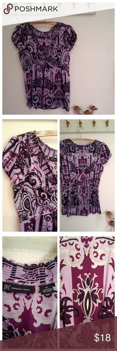 Inc silk Top purple and lavender, size large Short sleeve blouse top  Silk Print Peasant style  Elastic at waist and arms  Purple and lavender  Great condition   Size large INC International Concepts Tops Blouses