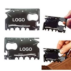 "The Wallet 18-in-1 Pocket Multi-Tools is made from 304 stainless steel that has 18 tools including 3 different screwdrivers, 6 hex wrenches, can opener, bottle opener, ruler, phone stand, box opener, fruit peeler and letter opener. It is another credit card sized pocket multi-tool that fits in your wallet. 3 3/16"" L x 2 3/16"" W  Order at www.thecorporatebrand.com or by clicking this image. Promotional Products, Promo Items, Promotional Marketing."