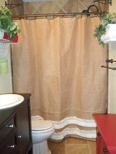 Burlap Shower Curtain with rows of Off White by SimplyFrenchMarket, $69.00