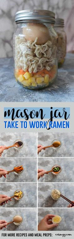 Meal Prep: Mason Jar Ramen - Meal Prep: Mason Jar Ramen Kristin Edwards Recipes Take your work lunch to a whole new level by bringing your very own mason jar ramen! via Carmy Fast Healthy Meals, Make Ahead Meals, Healthy Eating Recipes, Freezer Meals, Whole Food Recipes, Easy Meals, Jar Recipes, Ramen Recipes, Budget Recipes