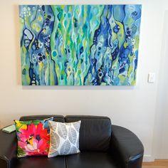 """Aerial Blue"" by MandyKopelkeArt, 60x40"", acrylic on canvas - SOLD"