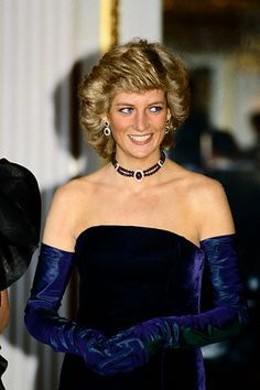 Princess Diana wearing a double-strand diamond and amethyst bead choker #PrincessDiana #diamond #amethyst