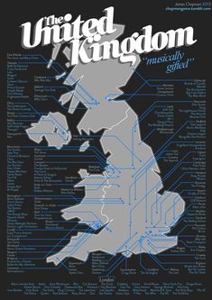 Top UK bands and which city they came from. | 20 Eye-Opening Maps That Will Make You See The UK Differently
