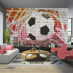 murando Photo Wallpaper cm Non-Woven Premium Art Print Fleece Wall Mural Decoration Poster Picture Design Modern Football Bedroom Themes, Bedroom Decor, Wall Decor, Wallpaper Decor, Photo Wallpaper, Football Rooms, Street Football, Football Wallpaper, Picture Design