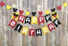 Mickey Mouse Birthday Banner, Mickey Birthday, First Birthday, Photo Prop image 0 Mickey Mouse Banner, Mickey Mouse Birthday Decorations, Theme Mickey, Fiesta Mickey Mouse, Mickey Mouse Parties, Mickey Party, Mickey Garland, Disney Parties, Mickey Cakes