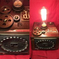 Cigar box lamp using a light switch, Edison build, and gears