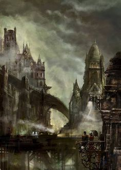 Steampunk city of Orthidian in England... except its meant to have a hundred more railroads going through the air :)