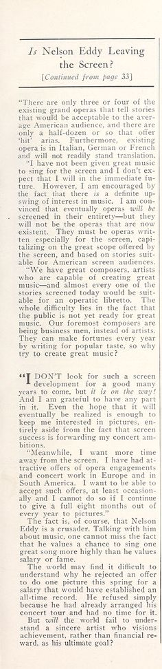 Is Nelson Eddy Leaving the Screen? (Part 3)