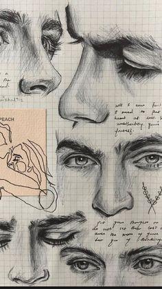 Pencil Art Drawings, Cool Art Drawings, Art Drawings Sketches, Sketch Art, Sketches Of Faces, Drawings Of Faces, Drawing Ideas, Draw Faces, Eye Sketch
