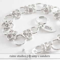 Enso Bracelet. Sterling silver chainmaille