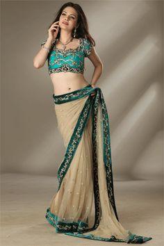 A different Saree Drape Saree Blouse, Sari, Dupion Silk, Net Saree, Blouse Styles, Indian Sarees, Teal Blue, Salwar Kameez, Indian Fashion
