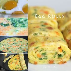 Korean Egg Rolls Recipe 계란말이  Ingredients         3 eggs         1 tablespoon milk         1 tablespoon carrot, finely chopped         1 tablespoon onion, finely chopped         1 tablespoon Spring onion finely  chopped         Salt and freshly ground pepper for seasoning