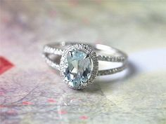 6X8mm 1.2ct Oval Aquamarine Ring in 14k White Gold.35ct  Diamond  $489.00 AngelaDesign99
