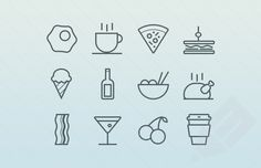 preview of egg, coffee, pizza, sandwich, ice cream food and drink icons