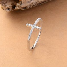 Sideways Silver Plated Cross Ring