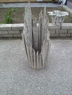 9 Etched Terra Cotta Planter White Opalhouse Video and Instructions for Making Draped Hypertufa or Cement Fabric Pots Planters Ideas of Planters how to make cement wa. Cement Art, Concrete Crafts, Concrete Pots, Concrete Projects, Concrete Garden, Outdoor Projects, Garden Crafts, Garden Projects, Cement Flower Pots