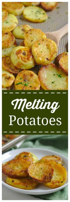 Melting Potatoes – An incredible side dish packed with flavor that will melt in your mouth! Yukon gold potatoes sliced and baked in a blend of seasonings, butter, and broth. Tender on the inside, crispy on the outside. #potato #side #garlic #melting