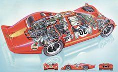Automobile, Bruce Mclaren, Ford Capri, Ford Gt40, Cutaway, Race Cars, Ferrari, Racing, Design
