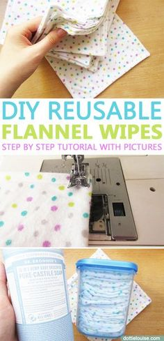 DIY Reusable Flannel Wipes! Make your own eco-friendly reusable flannel wipes and use them as makeup remover wipes, post-workout wipes, baby washcloths, baby wipes, or oh so soft washcloths for you! With simple sewing, you'll have a bunch made in no time! Check it out! http://dottielouise.com/blog/diy-reusable-flannel-wipes #sewing #DIY #reusable