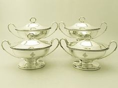 An exceptional, fine and impressive set of four antique George III English sterling silver sauce tureens; part of our Georgian silverware collection  http://www.acsilver.co.uk/shop/pc/Four-Sterling-Silver-Sauce-Tureens-by-Robert-Garrard-I-Antique-George-III-50p3641.htm