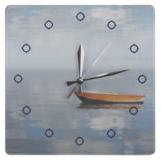 Boat and Reflected Peace Photo Wall Clock from Zazzle.com
