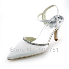 Satin white pointy toe bridal wedding sandals high heel slingback rhinestone shoes evening women prom pumps $74.82
