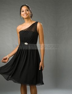 "black one shoulder bridesmaid dresses,black one shoulder bridesmaid dresses | ... Line One-Shoulder Pleated Brooch Knee Length Chiffon Bridesmaid Dress .........I know it's not ""high-low"" but I still think it's pretty! :)"