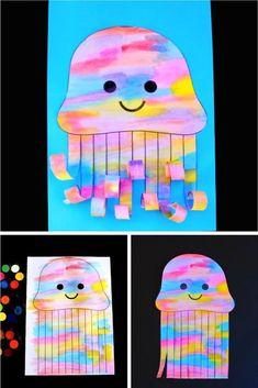 This watercolour jellyfish is a good under-the-sea-themed craft. Obtain the free jellyfish template. Kids Crafts, Summer Crafts For Kids, Craft Activities For Kids, Toddler Crafts, Art For Kids, Craft Ideas, Kindergarten Art, Preschool Crafts, Jellyfish Kids