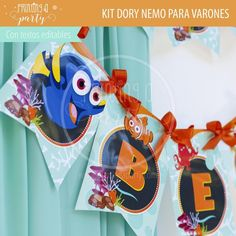 Muchas ideas para decorar tu fiesta de Dory y Nemo con estas decoraciones para imprimir y armar. Recibí tu kit en tu mail, imprimí y decorá. Nemo Y Dory, Party Printables, Invitation Cards, Tags, Decorations, Invitations