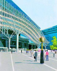JR Hakata City #japan #hakata #kyushu #station #illustrator #illustration #tatsurokuichi #life #city #people #architecture