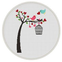 Birds on tree Counted cross stitch pattern, Instant Download, Free shipping, Cross-Stitch PDF, Valentine's day cross stitch, MCS017