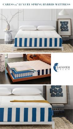 The science of sleep. Our Caress 12-inch Luxury Spring Hybrid Safavieh Dream Mattress brings two times the innovation to every inch of your body. Its soothing layer of over 400 pocket coil springs precisely adjusts to your body, while its Dream Memory foam & Gel Memory Foam increases circulation and keeps temperatures low. Mattress In A Box, Pillow Top Mattress, Affordable Mattress, Mattress Springs, Cozy Bed, Mattresses, Memory Foam, Innovation