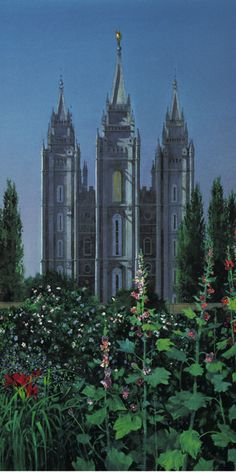 Back Porch Garden presents an 1890 view of the Salt Lake Temple and the famous gardens of the Beehive House, as well as the Lion House. This painting envisions the view Brigham Young would have had from his back porch upon the temple's completion. Utah Temples, Salt Lake Temple, Famous Gardens, Porch Garden, Salt Lake City, Organic Gardening, Brigham Young, Beehive, Fine Art