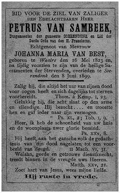 Soerendonk, Achterzijde gedachtenisprentje oud burgemeester P. van Sambeek. 1899