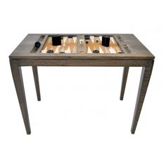 Wooden Backgammon Game Table - Driftwood -  In Stock with Navy and white game board spaces