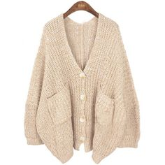 Shop Khaki V Neck Pockets Batwing Loose Cardigan Sweater online. SHEIN  offers Khaki V Neck Pockets Batwing Loose Cardigan Sweater   more to fit  your ... 54a1b240eff2e