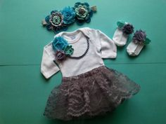 This outfit will be ready to ship in 1-3 days.    Bring your baby home in this beautiful, unique handmade, hand-sewn complete newborn sized