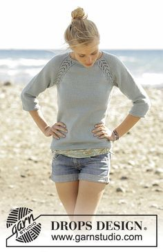 Knitted jumper with raglan and lace pattern, worked top down in DROPS Merino Extra Fine. Sizes S - XXXL. Free pattern by DROPS Design.