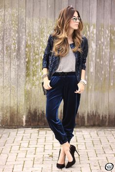 FashionCoolture - 28.07.2015 look du jour velvet pants sequined jacket (1)