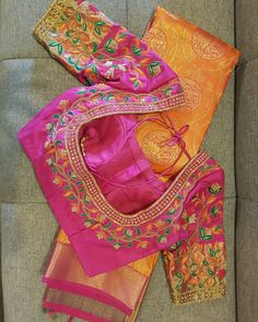 ------------- Wedding Blouses ------------ A blouse i absolutely loved making. Hot pink silk blouse with contrast french knot and beads… Wedding Saree Blouse Designs, Best Blouse Designs, Pattu Saree Blouse Designs, Blouse Neck Designs, Wedding Blouses, Blouse Patterns, Hand Embroidery Patterns Free, Embroidery Neck Designs, Creative Embroidery