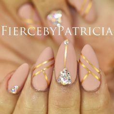 matte nude nails, gold tape + crystal placement | nailart @fiercebypatricia