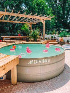 Stock Pools, Stock Tank Pool, Small Backyard Patio, Backyard Patio Designs, Backyard Ideas, Backyard Projects, Backyard Cottage, Backyard Seating, Backyard Paradise