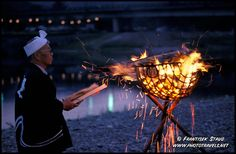 Usho (Japanese fisherman) opens fire for Ukai, traditional Cormorant Fishing  Iwakuni, Japan by Frantisek Staud